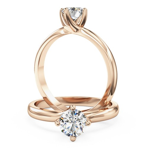 An elegant Round Brilliant Cut solitaire diamond ring in 18ct rose gold (In stock)