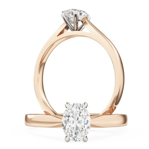 A beautiful oval cut solitaire diamond ring in 18ct rose & white gold