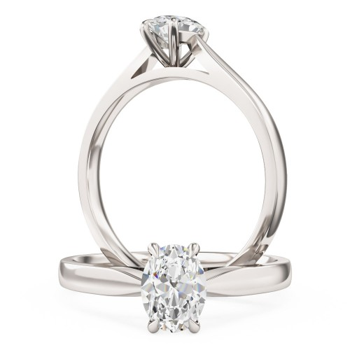 A beautiful Oval Cut solitaire diamond ring in platinum