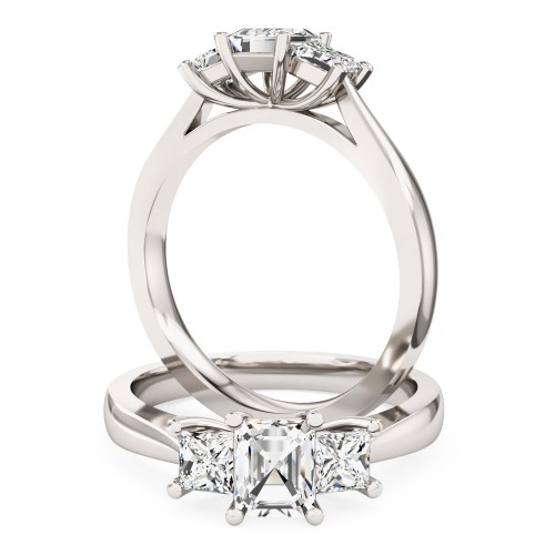 A stunning Emerald & Princess Cut diamond ring in 18ct white gold