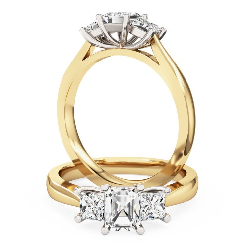 A stunning Emerald & Princess Cut diamond ring in 18ct yellow & white gold