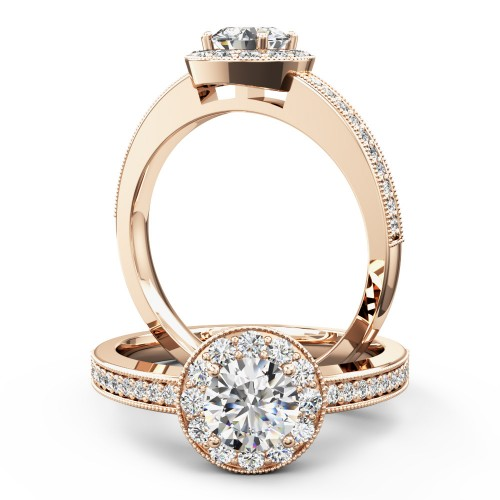 A stunning Round Brilliant Cut halo style diamond ring in 18ct rose gold