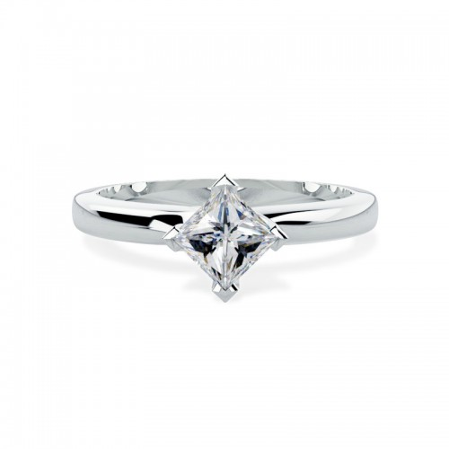 A unique Princess Cut solitaire diamond ring in platinum