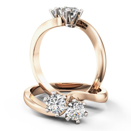 A unique Round Brilliant Cut diamond ring with 2 diamonds in 18ct rose & white gold
