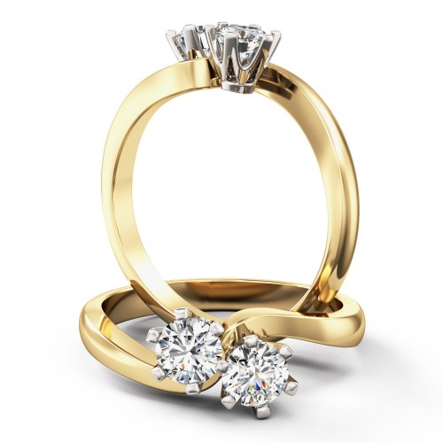 A unique Round Brilliant Cut diamond ring with 2 diamonds in 18ct yellow & white gold
