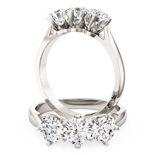 A classic Round Brilliant Cut three stone diamond ring in 18ct white gold (In stock)