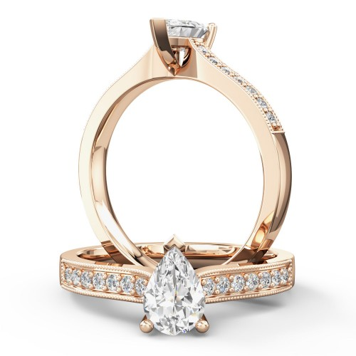A beautiful Pear shaped diamond ring with shoulder stones in 18ct rose gold