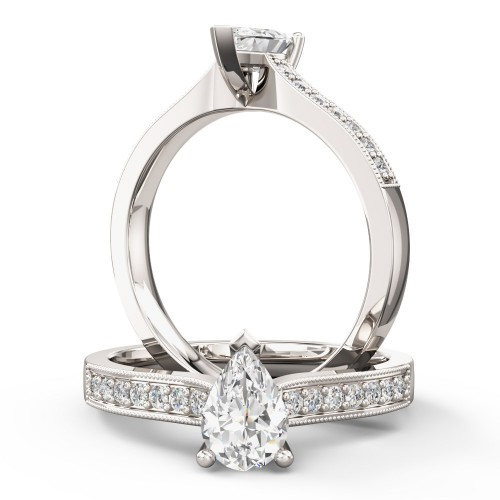 A beautiful Pear shaped diamond ring with shoulder stones in platinum (In stock)