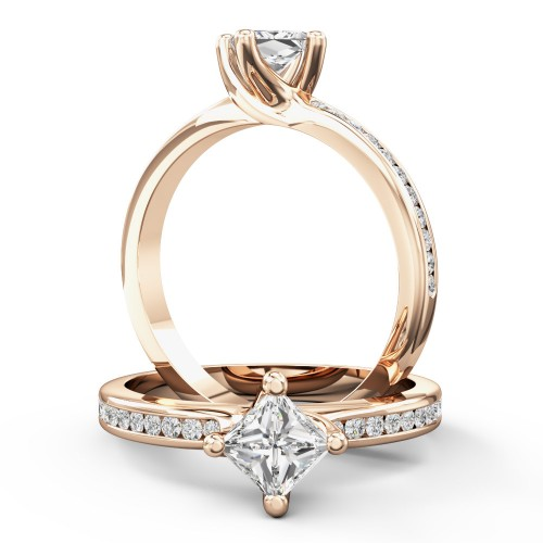 A stunning Princess Cut diamond ring with shoulder stones in 18ct rose gold