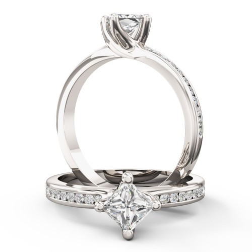 A stunning Princess Cut diamond ring with shoulder stones in platinum