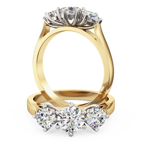 A classic Round Brilliant Cut three stone diamond ring in 18ct yellow & white gold