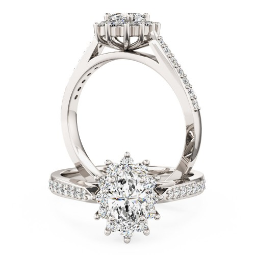 An oval diamond halo style ring with diamond shoulders in platinum