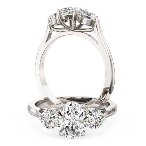 A stylish oval cut diamond 3 stone ring in 18ct white gold
