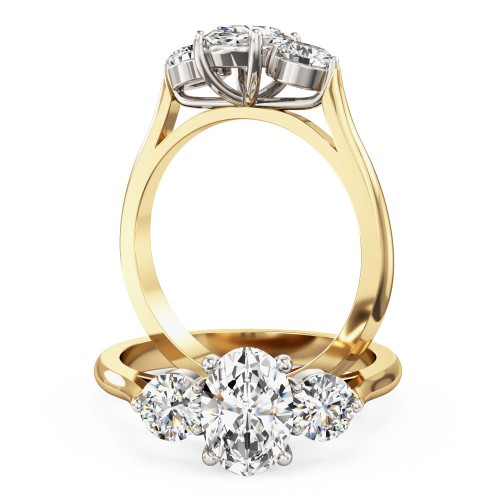 A stylish oval cut diamond 3 stone ring in 18ct yellow & white gold