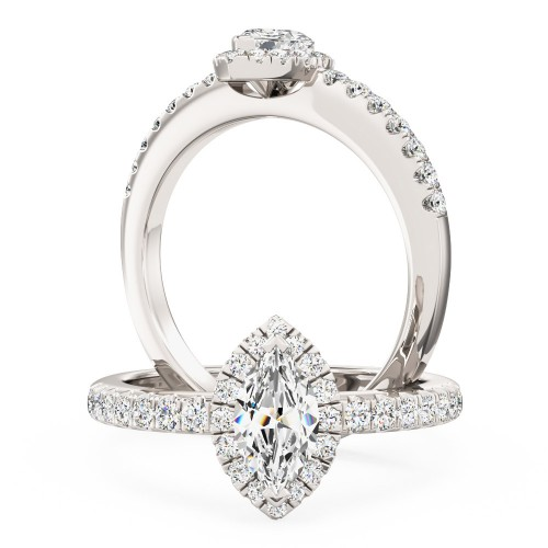 A stunning Marquise cut halo diamond ring with shoulder stones in 18ct white gold (In stock)
