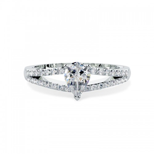 A stunning Pear shaped diamond ring with shoulder stones in 18ct white gold