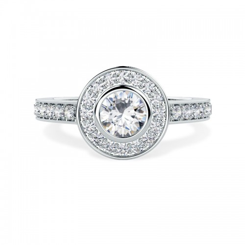 A spectacular Round Brilliant Cut halo diamond ring with shoulder stones in 18ct white gold