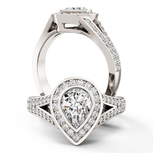 A breathtaking Pear shaped diamond ring with shoulder stones in 18ct white gold