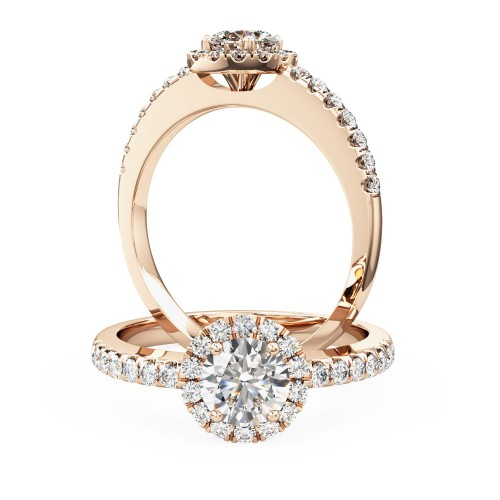 A stunning Round brilliant cut diamond ring with shoulder stones in 18ct rose gold