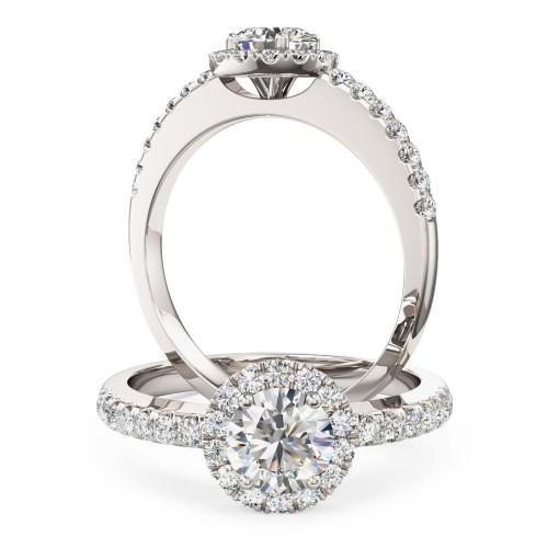 A classic round brilliant cut diamond halo with shoulder stones in platinum