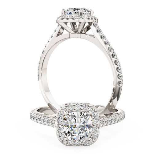 A stunning Cushion Cut halo style diamond ring with shoulder stones in 18ct white gold