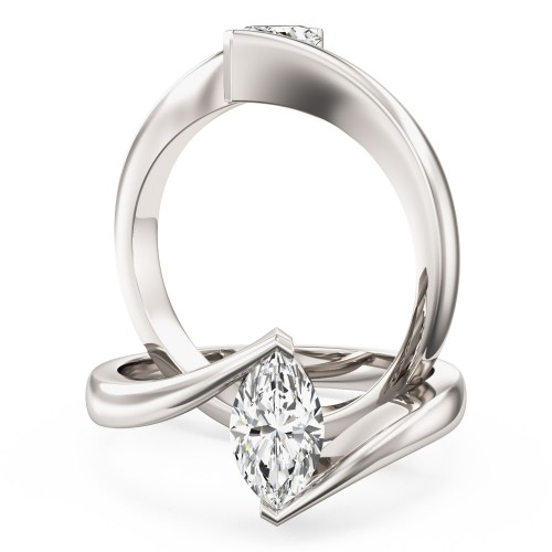 An eye catching Marquise Cut solitaire diamond ring in platinum