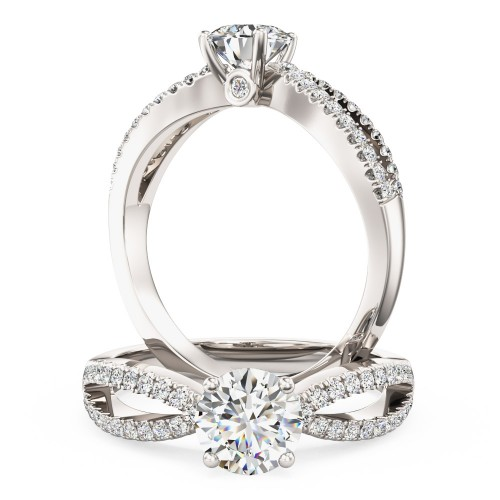 A beautiful Round Brilliant Cut diamond ring with shoulder stones in 18ct white gold