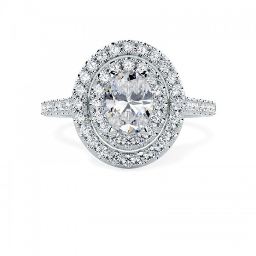 A stunning Oval diamond double halo design set in platinum
