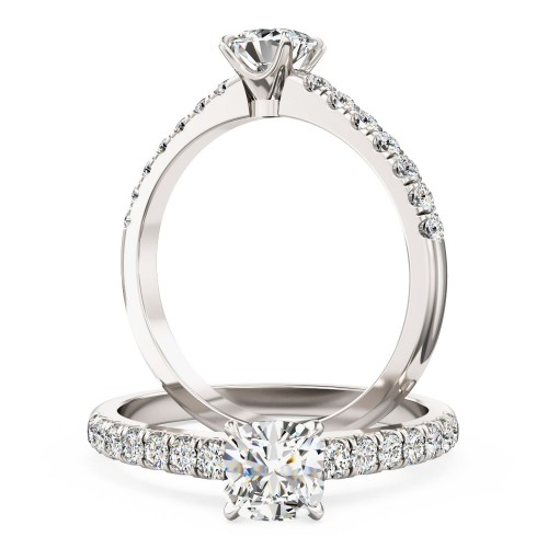 A beautiful Cushion Cut diamond ring with shoulder stones in 18ct white gold