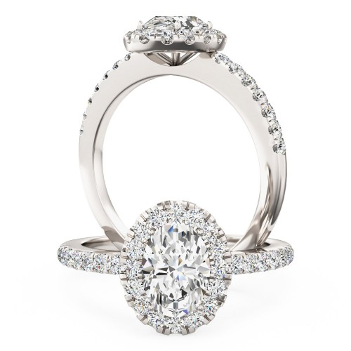 A stunning Oval Cut diamond cluster with shoulder stones in platinum (In stock)