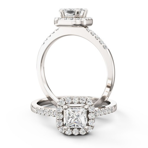 A stunning princess cut halo diamond ring in 18ct white gold