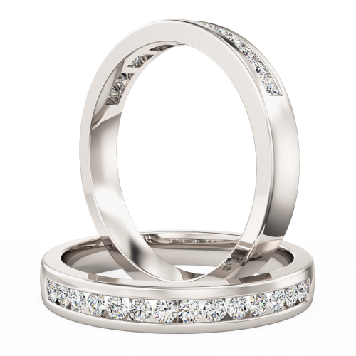 A stunning Round Brilliant Cut diamond set wedding ring in 18ct white gold