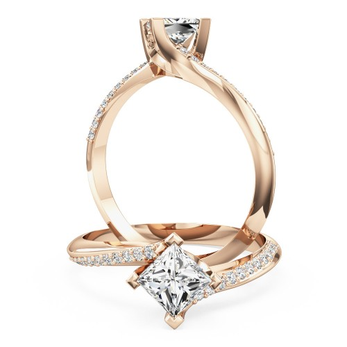 A stylish Princess Cut 'twist' engagement ring in 18ct rose gold