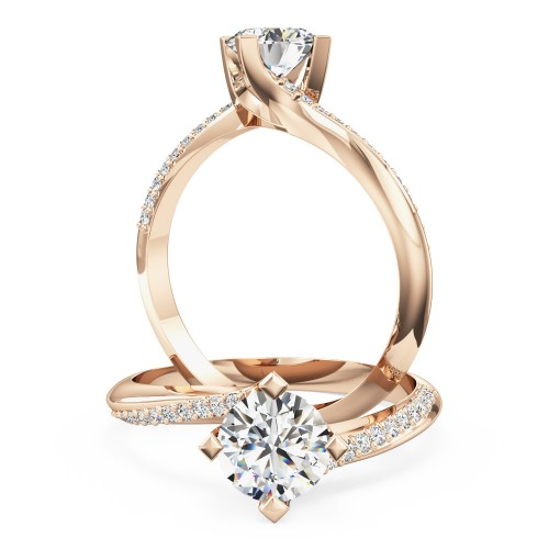 A beautiful round brilliant cut 'twist' engagement ring in 18ct rose gold