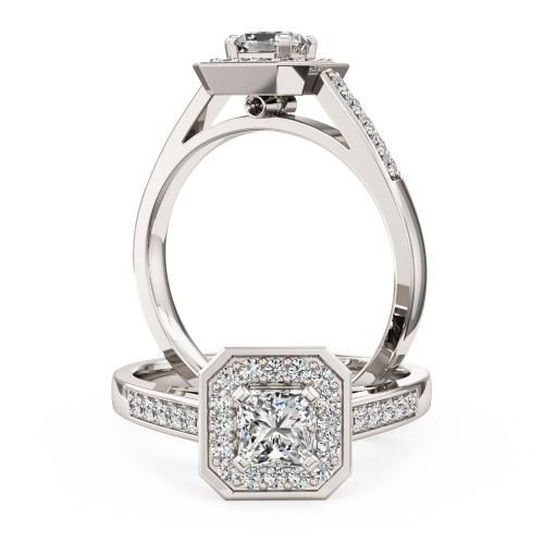 A stunning Princess Cut cluster style diamond ring in 18ct white gold