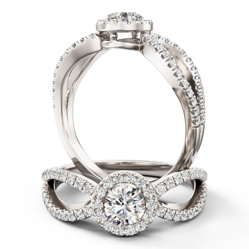 A stunning Round Brilliant Cut diamond ring with shoulder stones in palladium