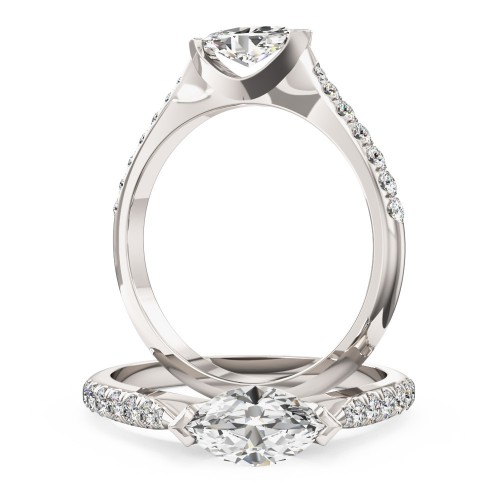 A stunning marquise cut diamond ring with shoulder stones in 18ct white gold