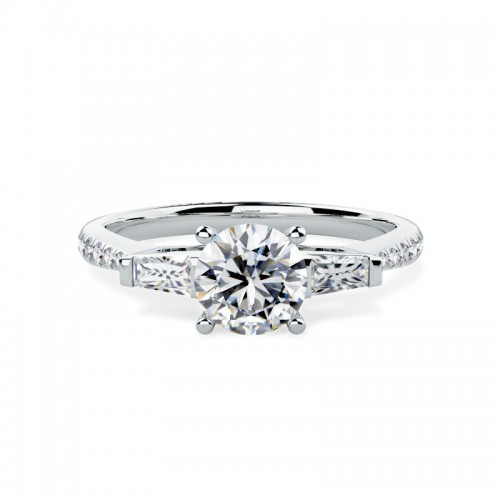 A stylish Round Brilliant Cut diamond ring with shoulder stones in platinum