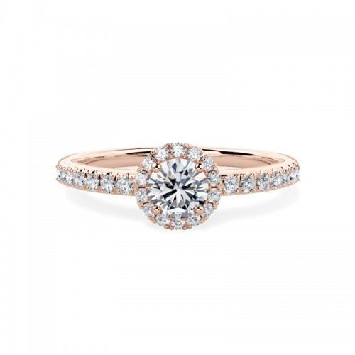 A stunning Round Brilliant cut Halo Diamond ring with shoulder stones in 18ct rose gold (In stock)