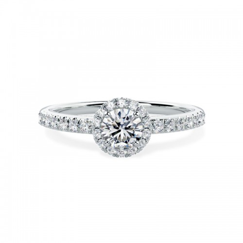 A stunning Round Brilliant cut Halo Diamond ring with shoulder stones in platinum