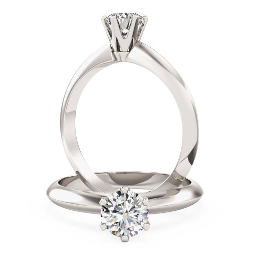 A timeless Round Cut solitaire diamond ring in 18ct white gold (In stock)