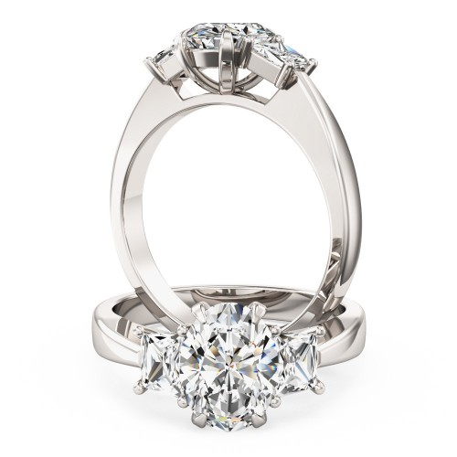An exquisite oval and trapezium cut diamond ring in platinum