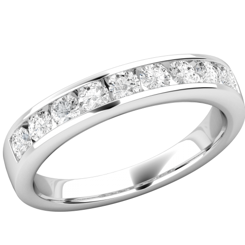 A stunning Round Brilliant Cut diamond eternity ring in 18ct white gold