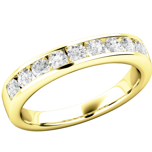 A stunning Round Brilliant Cut diamond eternity ring in 18ct yellow gold