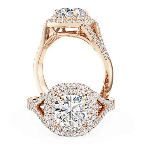 A sensational cushion diamond double halo with shoulder stones in 18ct rose gold