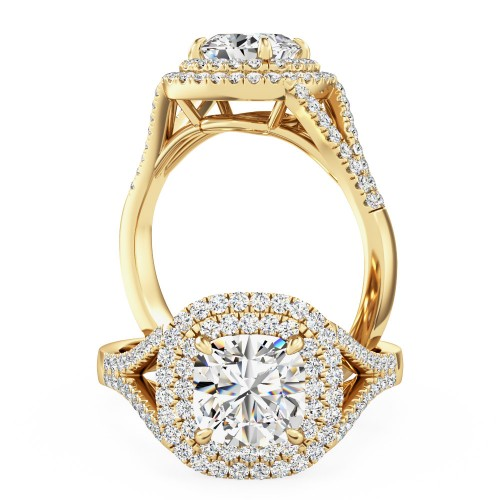 A sensational cushion diamond double halo with shoulder stones in 18ct yellow gold