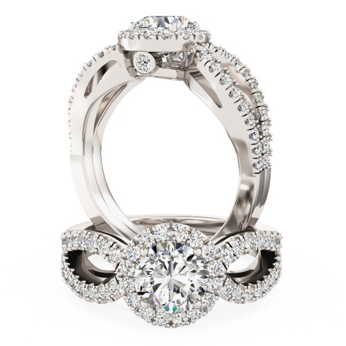 A stunning diamond halo cluster with shoulder stones in 18ct white gold