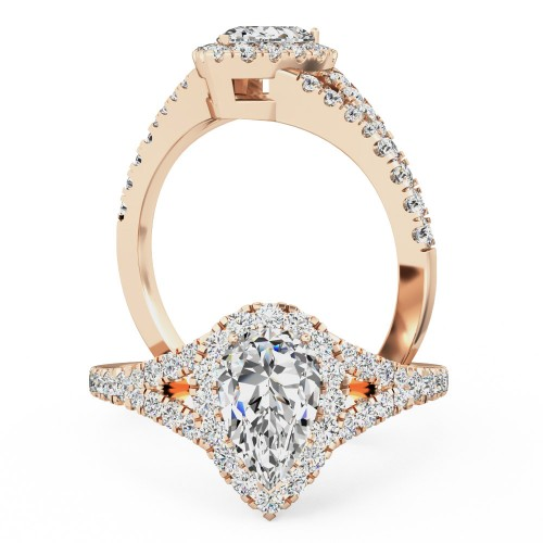 A stunning pear shape diamond ring with shoulder stones in 18ct rose gold