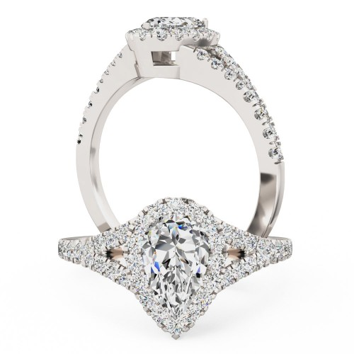 A stunning Pear Shaped cluster diamond ring with shoulder stones in platinum