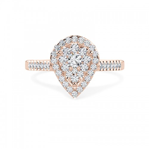 A stunning Round Brilliant Cut pear shaped halo diamond ring in 18ct rose gold